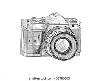Retro camera. Vector sketch illustration on white background