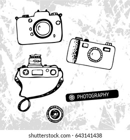 Retro cameras hand drawn vector illustration