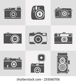 retro cameras silhouettes icon set. flat style vector illustration