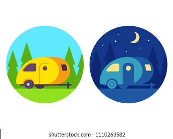 Retro camper trailer, day and night scene. Cute vintage camping illustration, simple flat cartoon vector style.