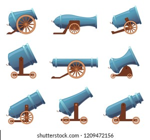 Retro cannon. Vintage military old iron weapons medieval circus artillery vector in cartoon style. Cannon weapon for war medieval, old gun army illustration