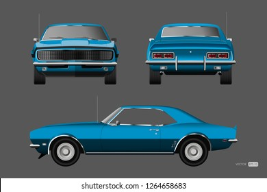 Retro car of 1960s. Blue american vintage automobile in realistic style. Front, side and back view. 3d classic auto. Vector illustration