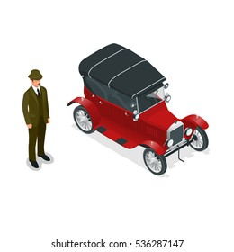 Retro car of the 20th century. Urban transport. Can be used for advertisement, infographics, game or mobile apps icon.