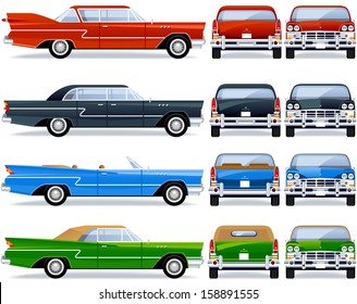 Retro Car (50th-60th). Pixel optimized. Elements are in the separate layers.  In the side, back and front views.