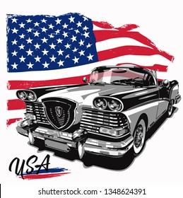 Retro car with american flag, vector illustration