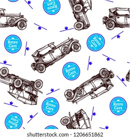 retro car and blue ring pattern