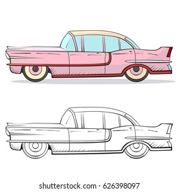 Retro car in cartoon style. Color and black outline retro auto. Classic car hand drawn set