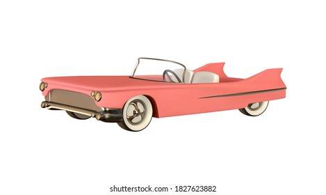 Retro car convertible realistic. Luxury vintage car 3d object isolated on white background. Vector illustration