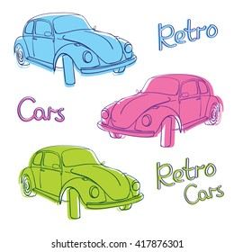 Retro car cute illustration. Simple old bug automobile. Classic auto. Vintage style.