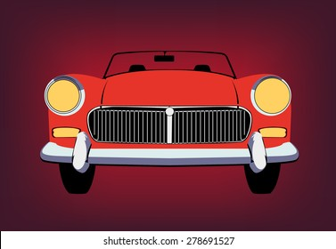 Retro car in the front view vector pic