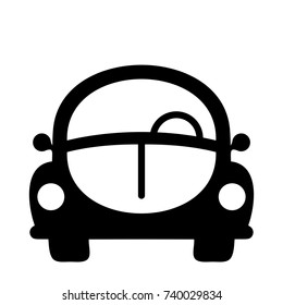 Retro car icon Black and white isolated sign Nice and sweet car silhouette