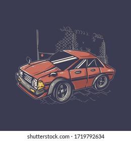 Retro car illustration. file vector editable