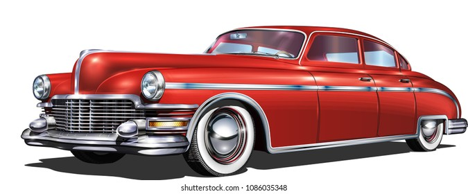 Retro car isolated on white background