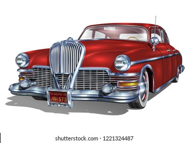Retro car isolated on white background.