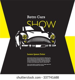 retro car isolated vector on black background, vintage car, car show poster