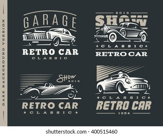 Retro car logo illustrations on dark background