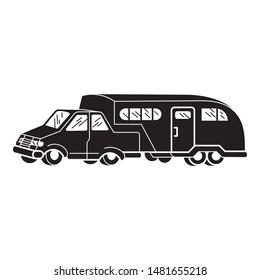 Retro car motorhome icon. Simple illustration of retro car motorhome vector icon for web design isolated on white background