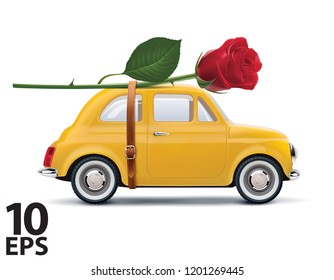 Retro car with red rose isolated on white. Realistic vector 3d illustration