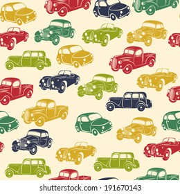 Retro car seamless pattern. Vector illustration.