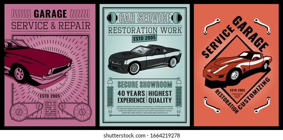 Retro car service advertising in American style. Vintage vehicle repairing workshop. Racing garage. Automotive old school graphic design. Editable illustration. Vertical poster. Transportation concept