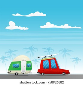 Retro car with surfboard on the roof and white trailer. Camping and traveling concept