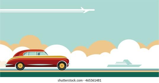 retro car, travel flat style retro banner