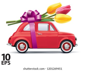 Retro car with tulips isolated on white. Realistic vector 3d illustration