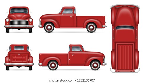 Retro car vector mockup on white background. Isolated red pickup truck view from side, front, back, top. All elements in the groups on separate layers for easy editing and recolor.
