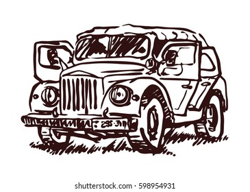 Retro car vector sketch illustration. Transport, vehicle elements isolated on white background