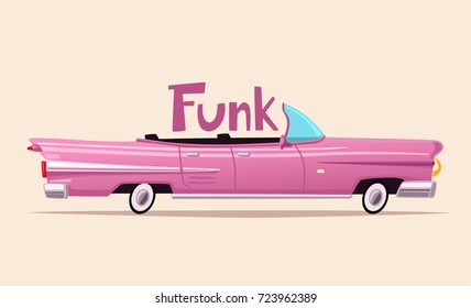 Retro car. Vintage lowrider. Cartoon vector illustration.