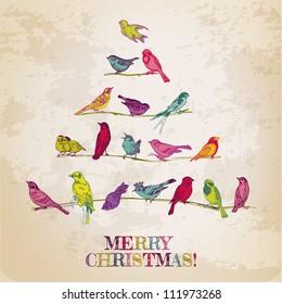 Retro Card. Birds on Christmas Tree. Invitation, congratulation in vector