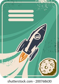 Retro card with rocket flying through Outer Space