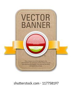 Retro cardboard vector banner with golden yellow ribbon and red plastic button