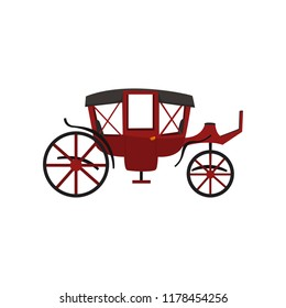Retro carriage, vintage transport, wagon for traveling vector Illustration on a white background