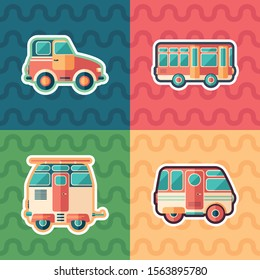 Retro cars and buses sticker flat icon set.