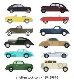 Retro cars icons set vintage vector