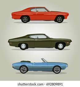Retro cars set vintage isolated. Vector illustration
