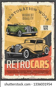 Retro cars show or vehicle exhibition. Vector vintage transport museum, restoration works, old cabriolet. Auto repair service, mechanic system and garage station, automobile parts replacement