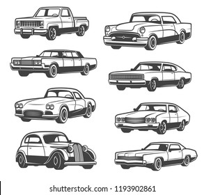 Retro cars and vehicle types. Vector isolated icons of vintage transport taxi cab, sport car or limousine and old pickup truck or luxury premium sedan, auto service theme design