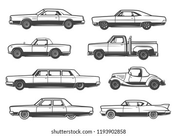 Retro cars and vintage automobile models. Vector thin line icons of mini car with retractable hood or cabriolet, collector antique taxi cab or pickup truck and sportcar with limousine