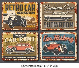 Retro cars and vintage vehicles, vector rusty signs and metal plates. Premium cars rent, classic showroom, retro transport museum exhibition and show parade, garage station posters with rust
