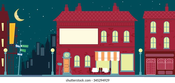 Retro Cartoon City landscape - Vector illustration