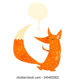 retro cartoon clever fox with speech bubble