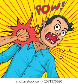 Retro cartoon drawing man get punch