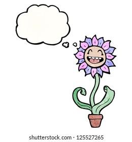 retro cartoon flower