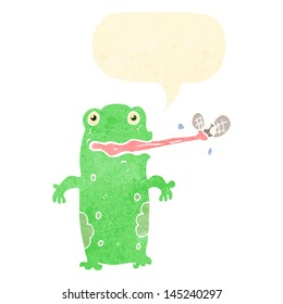 retro cartoon frog catching fly