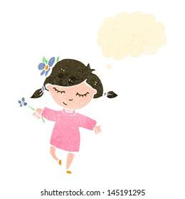 retro cartoon girl with flower