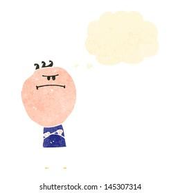 retro cartoon grumpy man