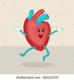 retro cartoon of a healthy happy heart character