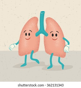 retro cartoon of human lungs characters
